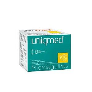 Microgulhas 30Gx4mm Uniqmed Caixa com 100 unidades