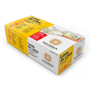 Luva de Látex com Pó para Procedimento - Uso Médico (100 unidades) - Descarpack