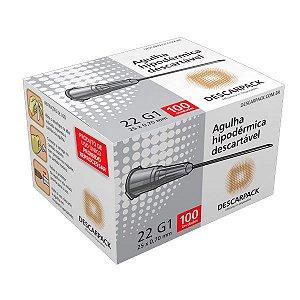 Agulha Hipodérmica Descartável 22G 1 1/2 25x0,70mm com 100un - Descarpack
