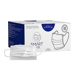 Máscara Tripla Descartável C/ Clipe Nasal Cx 50un - Smart GR