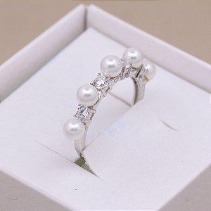 Anel Meia Aliança Pearls and Sparklings