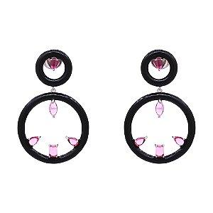 Brinco Duplo círculo com diferentes zircônias
