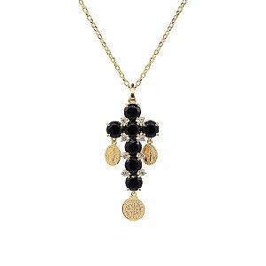 Colar Crucifixo de Pedras e Medalhas
