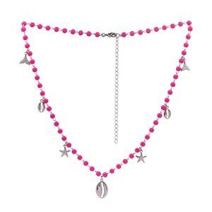 Colar de pedras pink com pingentes