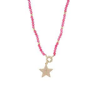 Colar pink com pingente de estrela