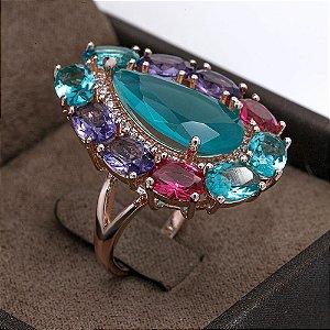 Anel Luxo Gota com Colors