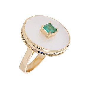 Anel Luxo Placa Circ com micro colors