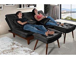 Sofa Cama Reclinavel Caribe + Duas Banquetas Rubi Essencial Preto