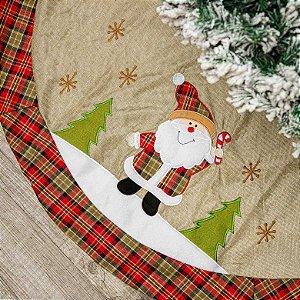 Saia de Arvore de Natal com Papai Noél Bordado