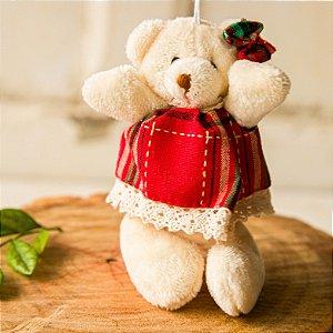 Pingente Mini Ursinho com Vestido e Laço