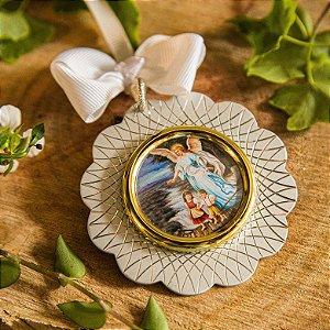 Medalhão de Berço Anjo Zelador Ponte Prata - Com Gravação do Nome do Bebê