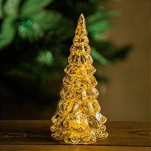Enfeite Pinheirinho de Natal com Led Dourado