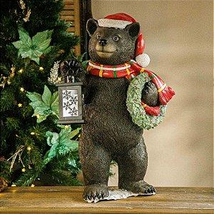Urso Decorativo com Lanterna e Guirlanda - Avaria