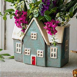 Cachepot Casa Em Cerâmica - Azul