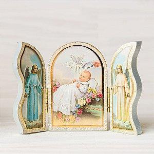 Capela de mão para batismo branca
