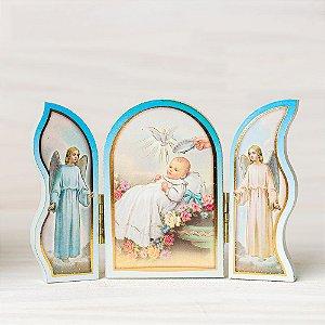 Capela de mão para batismo cor azul
