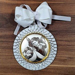 Medalhão Berço Italiano Anjo Zelador 7,5 cm