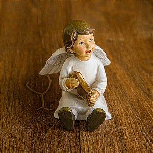 Anjo Sentado Segurando uma Estrela