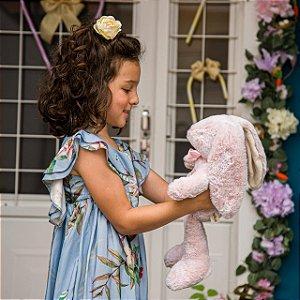 Coelha Vintage de Pelúcia Rosa  (com nome personalizado bordado)