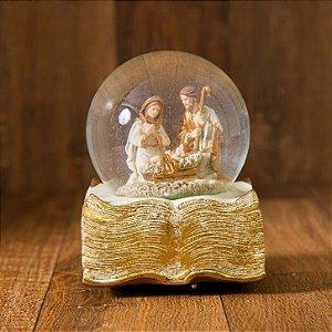 Globo musical Sagrada Família com Livro Dourado