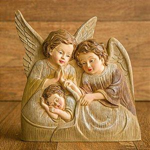 Imagem Anjos Guardiões com Bebê em Madeira Resinada