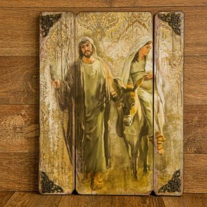 Quadro de Madeira Sagrada Familia Rumo a Belém