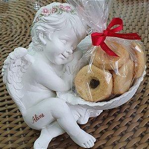 Anjo Floret Apoiado na Concha Rose - com cookies Kopenhagen e personalização