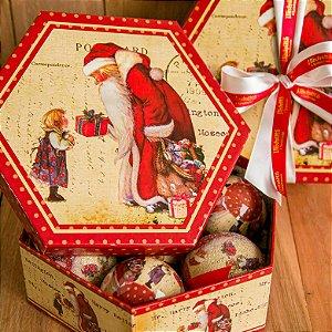 Caixa de Bolas Papai Noel (PRODUTO 100% REVERTIDO PARA DOAÇÃO)
