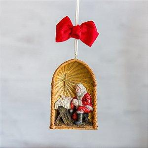 Pingente de Natal Papai Noel com Menino Jesus