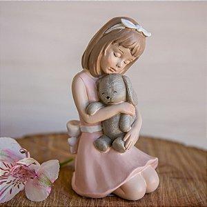 Menina Luisa e seu coelhinho - Personalizável Rosa