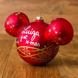 Bola de Vidro Vermelha Disney com Cristais 10 cm