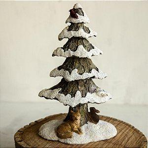 Árvore de Natal Nevada com Lobo e Coelho