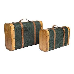 Dupla de Malas Vintage Verde 45/38cm