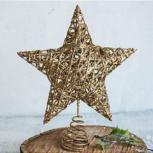 Ponteira de Árvore de Natal Estrela Glitter