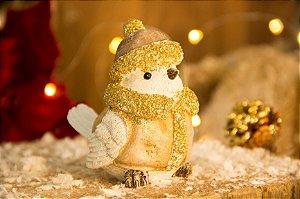 Passarinho Decorativo com Cachecol Dourado