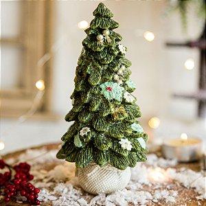 Mini Árvore Decorativa com Laço Dourado