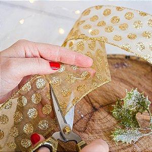 Fita Decorativa com Gotas Douradas