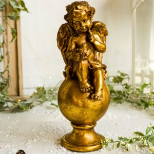 Anjo Sobre o Globo com Pássaro Gold