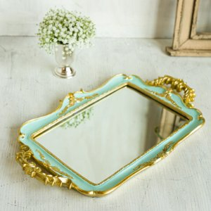 Bandeja Vintage Espelhada Azul