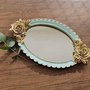 Bandeja Oval Estilo Vintage Com Espelho Azul