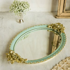 ⚜️ Bandeja Oval Estilo Vintage Com Espelho - Azul⚜️