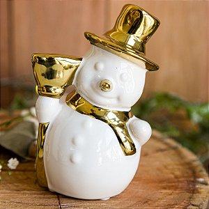 Boneco de Neve com Cachecol Douradoem Cerâmica (G)