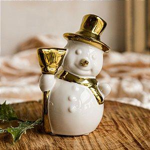 Boneco de Neve com Cachecol Dourado em Cerâmica (P)