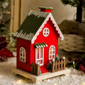 Casinha Vermelha com Árvore de Natal