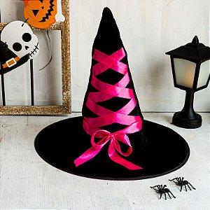 Chapéu de Bruxa Preto com Laço Rosa