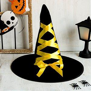 Chapéu de Bruxa Preto com Laço Amarelo