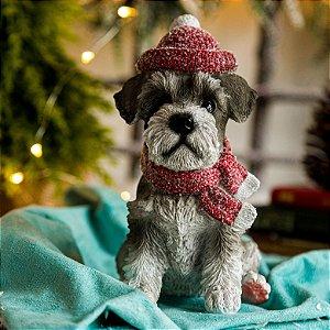 Cachorrinho Schnauzer com Gorro de Natal