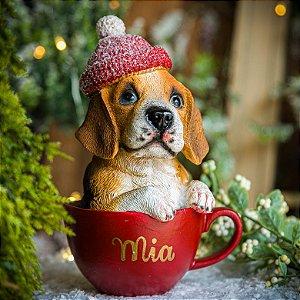 Cachorrinho Beagle na Xícara- PERSONALIZÁVEL