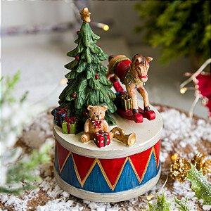 Caixa Musical Urso no Tambor com Presente