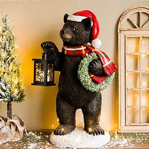 Urso Decorativo com Lanterna e Guirlanda